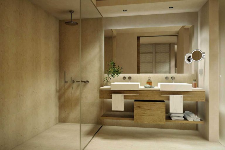 Salle de bain miroir grossissant